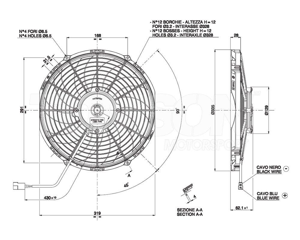 Spal VA10-AP50/C-61S push type electric fan 305 mm