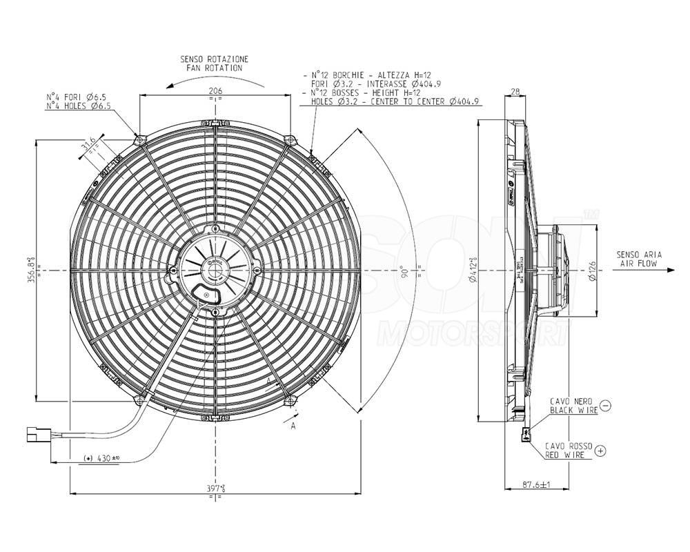 Spal VA18-AP71/LL-86A pull type electric fan 385 mm