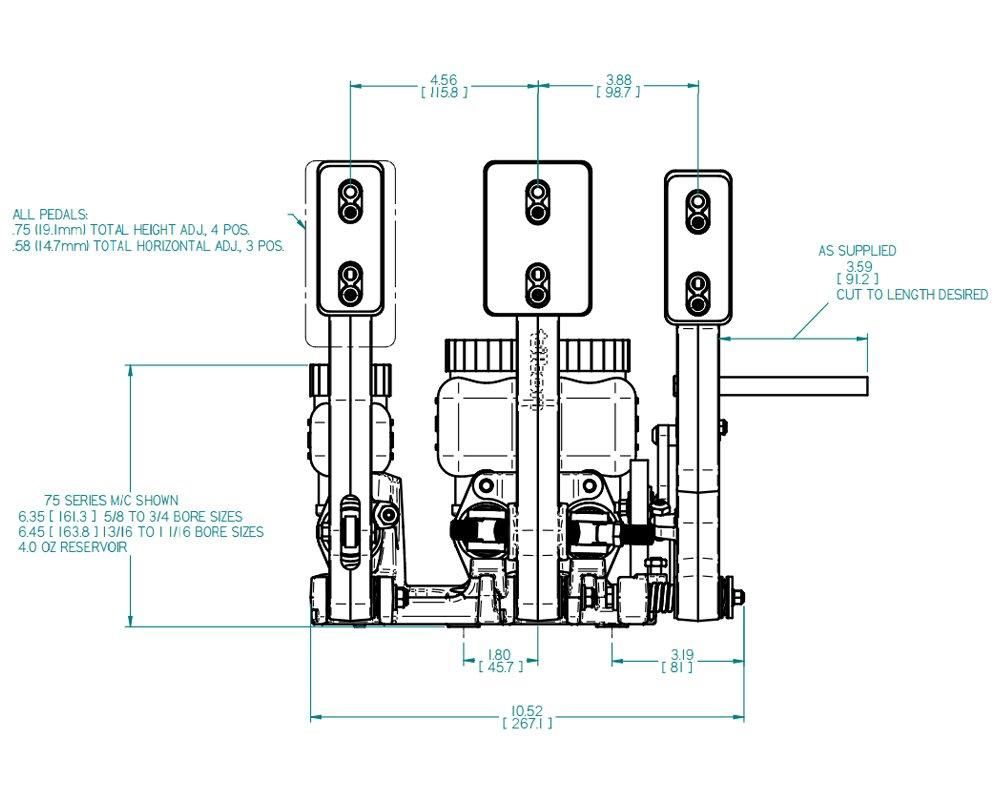 Tilton 72-603 600 Series Floor Mount 3 Pedal Assemblies