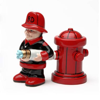 Firefighter Salt and Pepper Shakers