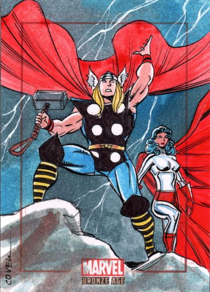 Thor Sketch Card by artist Roy Cover