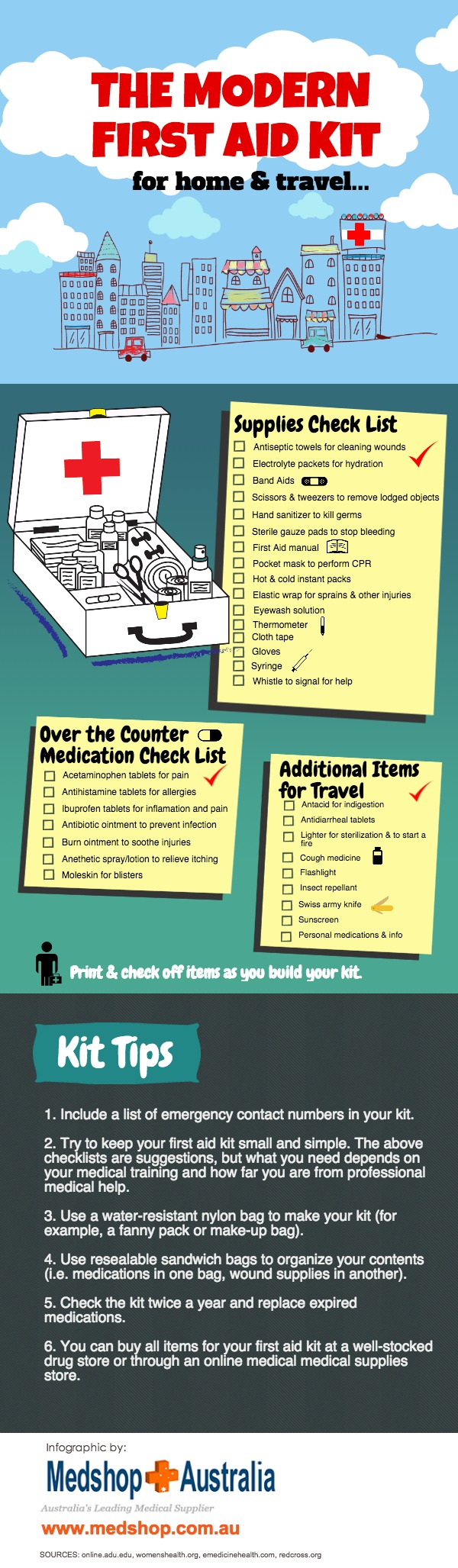 First Aid Kit Infographic Australia #firstaid #medical #emergency