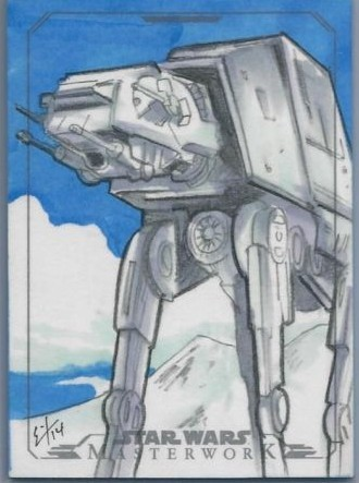 AT AT Star Wars Sketch Card by Erik Hodson