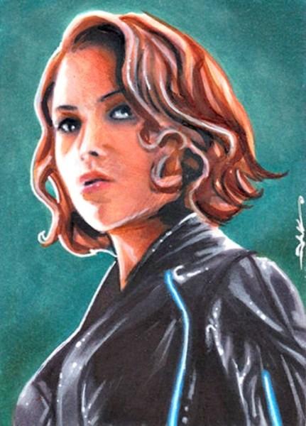 Black Widow Sketch Card Drawn By Jim Kyle