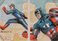 2014 Marvel Premier 2 Panel Double Sketch Cyrus Mesarcia Captain America Sketch Card Artist