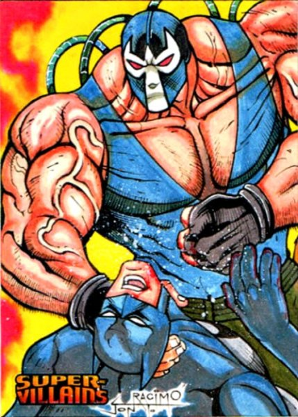 Bane and Batman DC Super Villains ARTIST PROOF Sketch Card by Jon T Racimo Sketch Card Artist