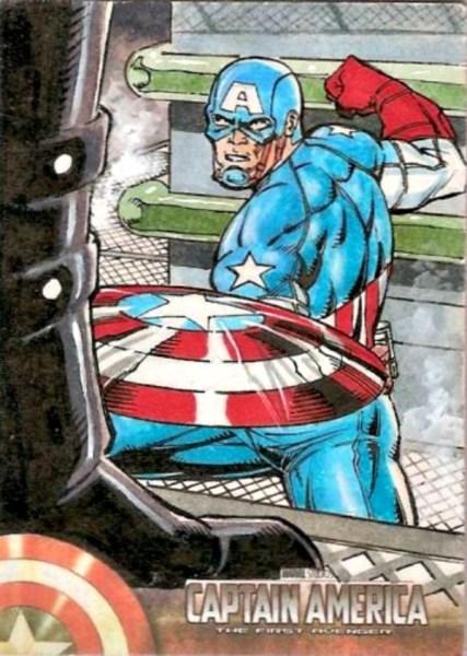 Captain America Sketch Card by Roy Aston Cover Marvel Upper Deck 2011 Sketch Card Artist