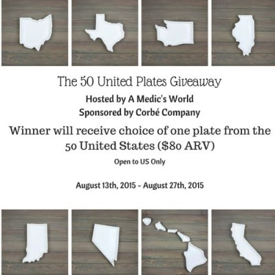 The Fifty United Plates Giveaway - Win a Custom Porcelain Plate of Your State - Awesome designs, Food Safe, Microwave Safe, Oven Safe, Dishwasher Safe - Ends 8/27