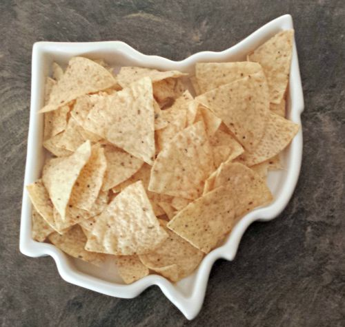 The Fifty United Plates Collection from the Corbe Company Review The Ohio Plate, My home Plate, looks great being used to serve Tortilla Chips, but also great for cooking and baking in as well.
