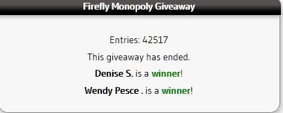 Firefly Monopoly Giveaway Winners on A Medic's World
