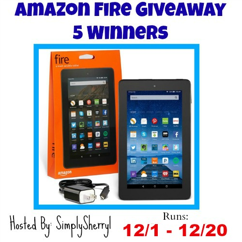 Amazon Fire Giveaway - 5 Winners! Great chance for you to win this fantastic tablet. Good Luck. ~Tom