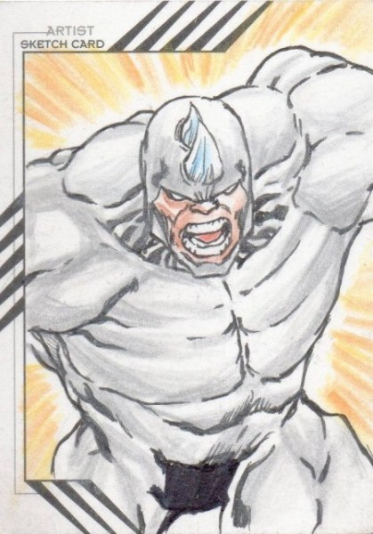Details about 2015 Fleer Retro Marvel Character Sketch Raymundo Racho 1/1 Rhino Great Sketch Card Spiderman's Enemy