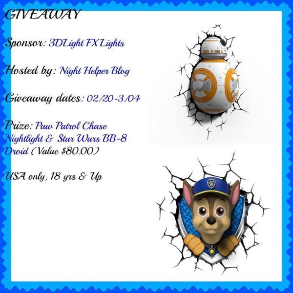 Paw Patrol Chase Nightlight & Star Wars BB-8 Droid 3D Light FX Giveaway