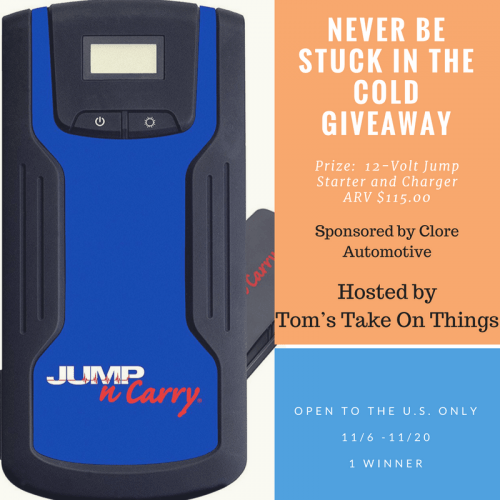 Never be stuck in the cold giveaway ~ Jump Starter Prize Ends 11/20
