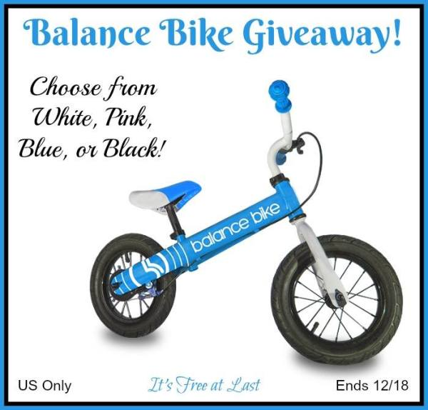 Balance Bike Giveaway - Choose from White, Pink, Blue, or Black Ends 12/18