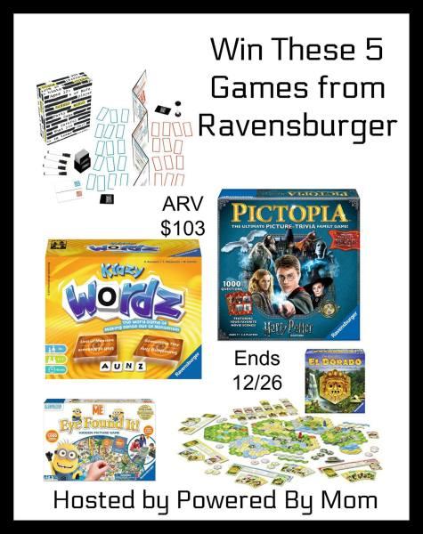 5 Ravensburger Games Giveaway ~ ARV $103 Ends 12/26