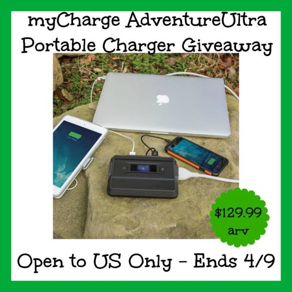 MyCharge Adventure Ultra Charger Giveaway Ends 4/9