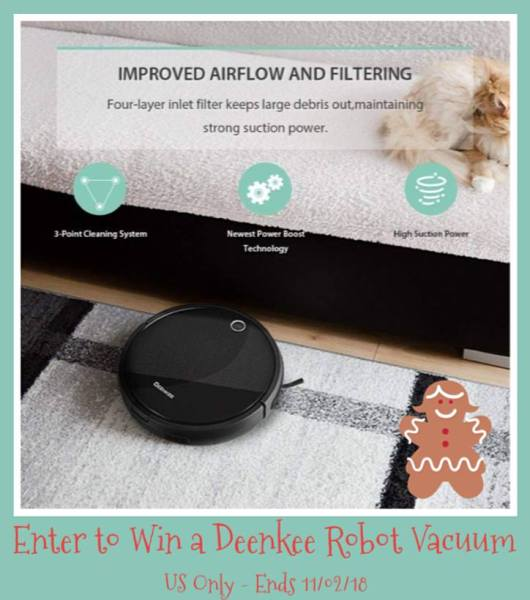 Deenkee Robotic Vacuum Cleaner Giveaway Ends 11/2 #gadget #home #giveaway