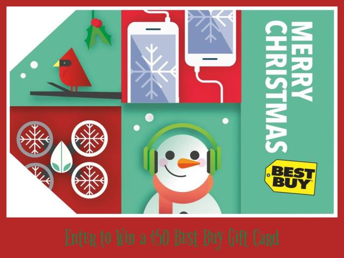 $50 Best Buy Gift Card Giveaway Ends on 12/20 I would so love to win this, how about you? Good Luck.