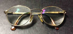 Front view of a pair of anti glare glasses.