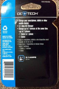 Picture of the back of the packagine for the USB Mobile Charger from CE Tech.
