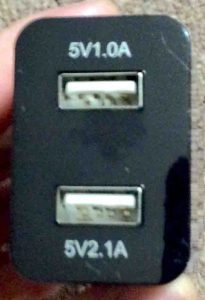 Picture of the charger's two USB ports.