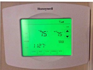 Picture of the Honeywell RTH8580 Wireless Thermostat, Installed and Operating.