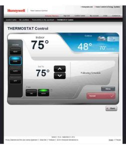 Picture of the Honeywall Total Connect Comfort web site -Device Control- page.