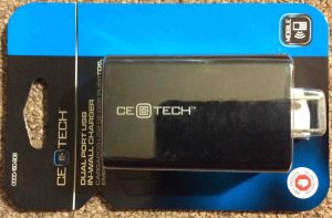 Picture of the CE Tech Electronics, dual port USB in-wall charger, in original package.