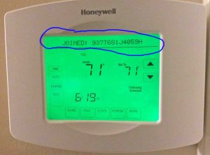 "Picture of the touchscreen status area, displaying the ""Joined Network"" status message on the Honeywell RTH8580WF Wifi Thermostat, indicating the name of the Wifi network just joined."