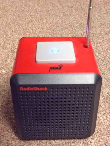 Picture of the Radio Shack 12500 NOAA Cube Weather Radio, Operating, Antenna Extended.