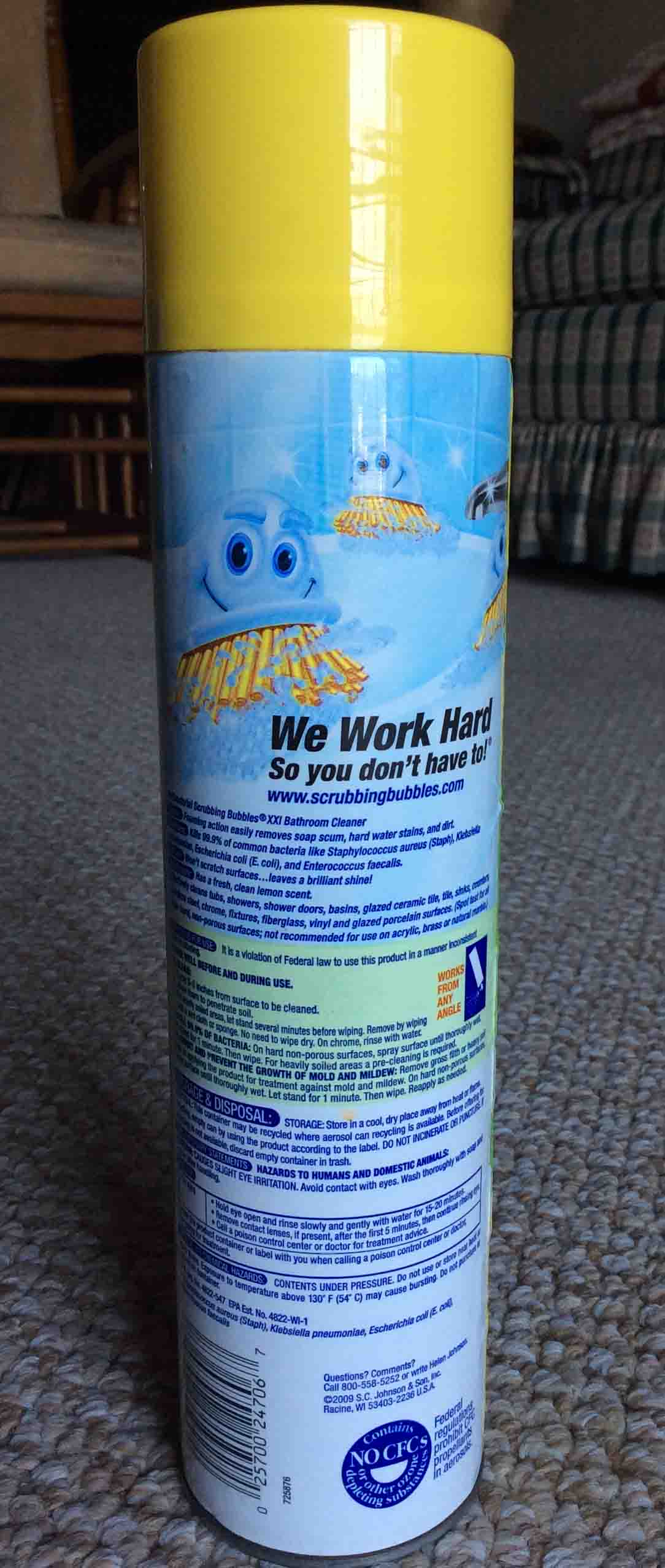Picture Of The Back Of The 25 Ounce Can Of SC Johnson Scrubbing Bubbles  Anti Bacterial