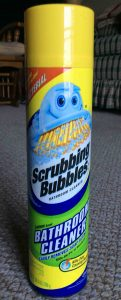 Picture of Scrubbing Bubbles Antibacterial Bathroom Cleaner by SC Johnson company, showing the front of the 25 ounce can.