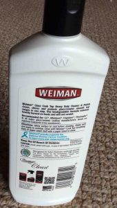 Picture of the rear of a bottle of Weiman Glass Top Stove Cleaner Bottle.