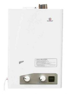 Stock picture of the Eccotemp FVI-12-NG high capacity natural gas tankless water heater, front view.