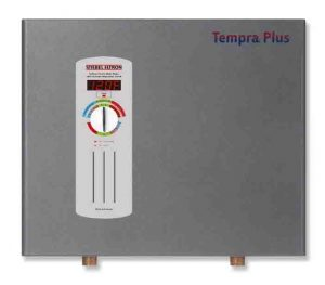 Stock picture of the Stiebel Eltron Tempra 24 Plus electric tankless whole house water heater, front view.