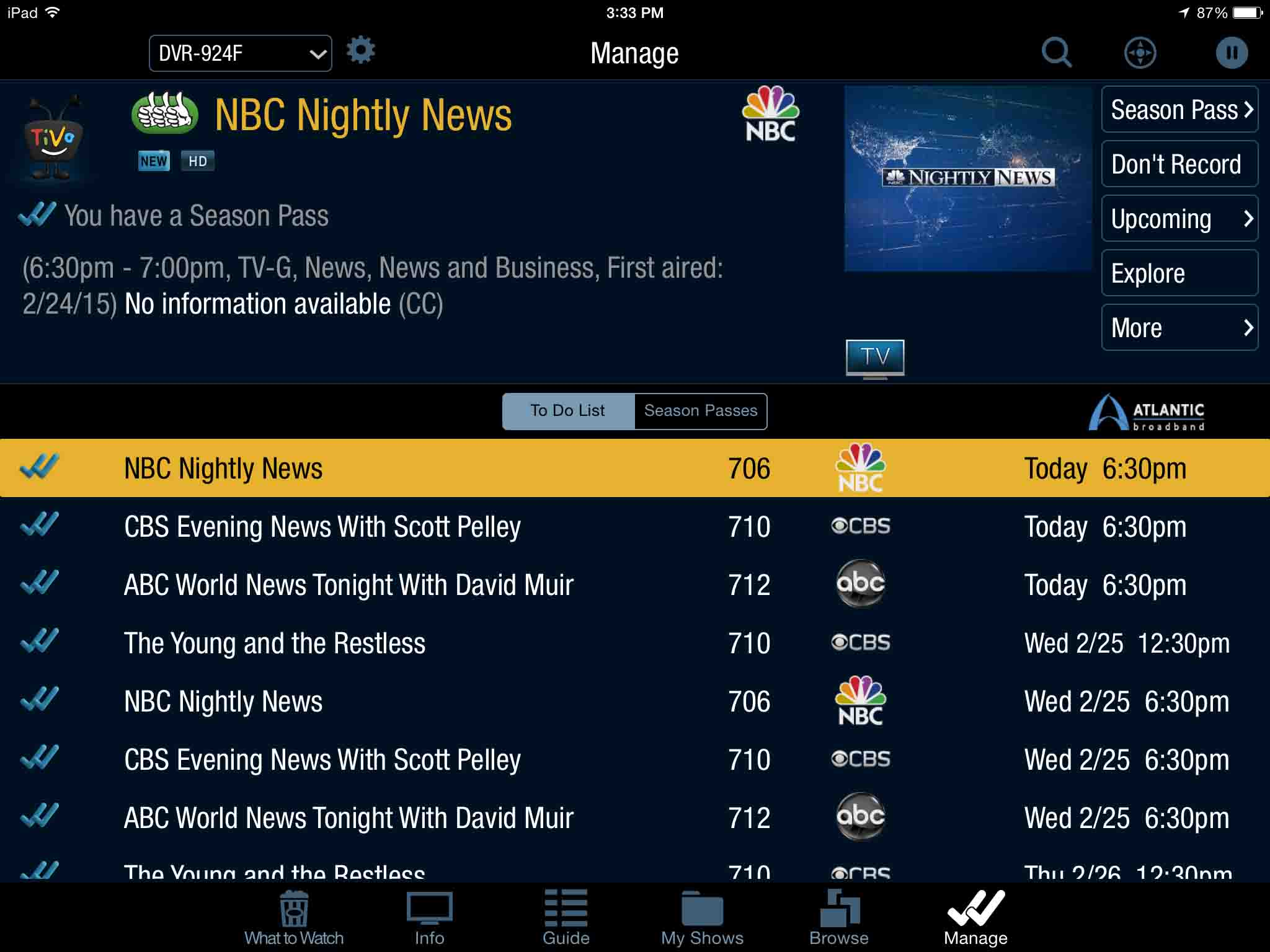List of Upcoming Shows to be Recorded on the Tivo T6 Roamio DVR from Atlantic Broadband.