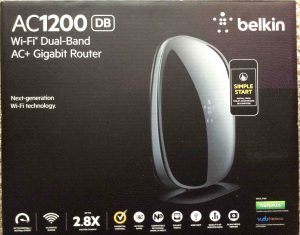 Picture of the front of the box for the Belkin AC1200 DB WiFi router. How to choose a wireless router.