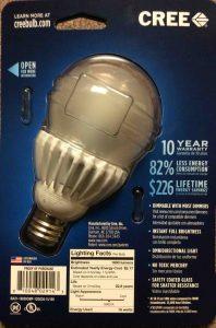 LED advantages and disadvantages. Picture of a CREE LED Light Bulb, 100 Watt, back of original carton.