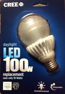 LED advantages and disadvantages. Picture of a CREE LED Light Bulb, 100 Watt, the Front of its original carton.
