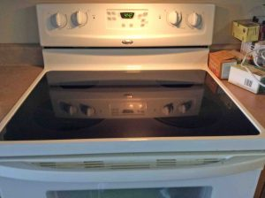 Picture of a glass cooktop stove surface.