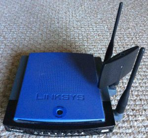 Picture of the Linksys WRT300N V1 Broadband wireless router, front view.
