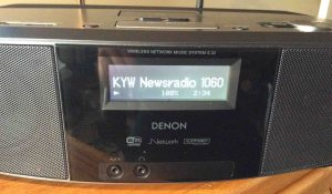 Picture of the Denon S-32 Internet Radio, successfully playing an audio stream. Reconnect WiFi worked.