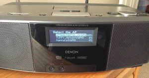 Picture of the Denon S-32 Internet Radio, displaying the -Select the AP- screen.