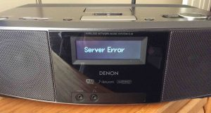 "Picture of the Denon S-32 Internet Radio, displaying the, ""Server Error,"" message. Reconnect WiFi is necessary."
