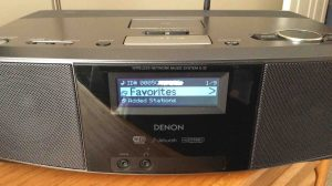 Picture of the Denon S-32 Network Music Player, displaying its Main Menu after successful Wi-Fi connection established.
