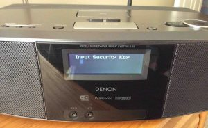 Picture of the Denon S-32 Radio, displaying the -Input Security Key-- editor screen, with blank password field. Note that cursor block is at far left.