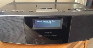 Picture of the Denon S-32 Radio, displaying the -Input Security Key- editor screen.