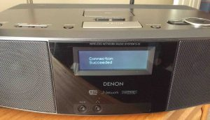 Picture of the Denon S-32 Radio, displaying the -Connection Succeeded- screen.