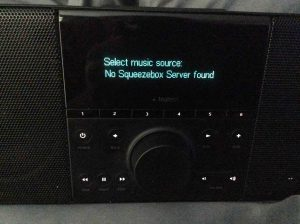 """Picture of the """"Select music source:"""" screen."""